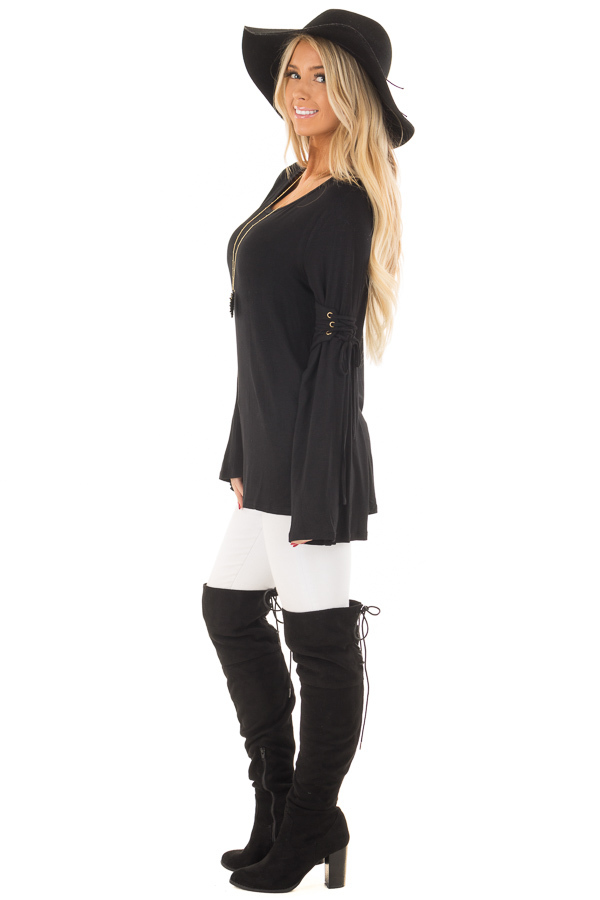 Black Long Bell Sleeve Top with Lace Up Detail side full body