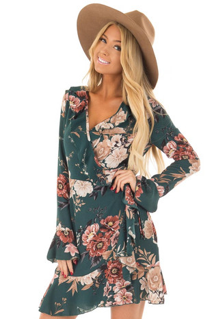 Teal Floral Print Wrap Style Dress with Ruffle Details front close up