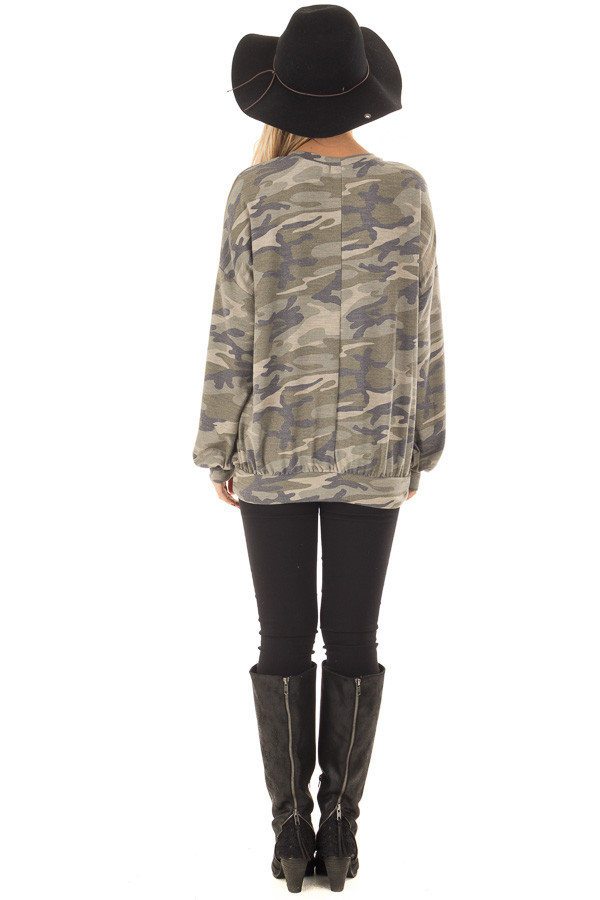 Camo Sweater with Chest Cutout back full body