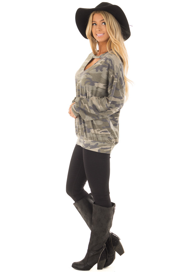 Camo Sweater with Chest Cutout side full body