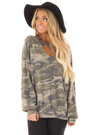 Camo Sweater with Chest Cutout front close up
