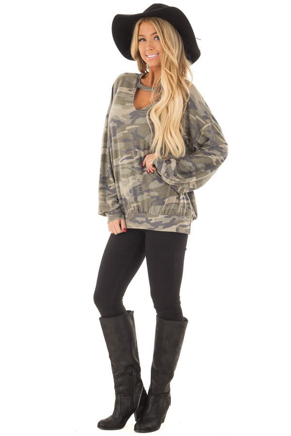 Camo Sweater with Chest Cutout front full body