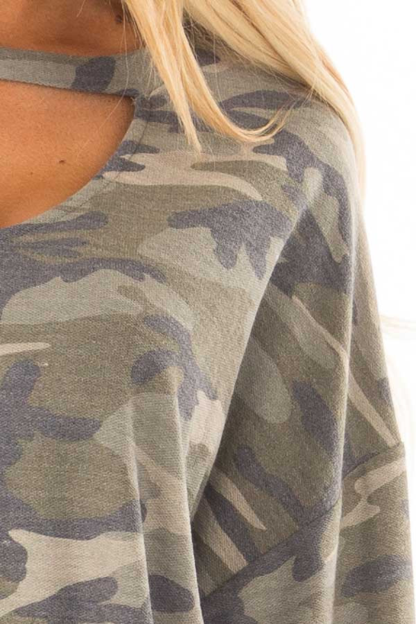 Camo Sweater with Chest Cutout detail