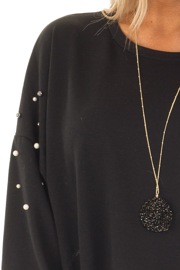 Black Oversized Sweater with Beaded Details detail