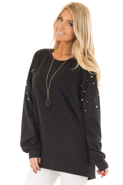Black Oversized Sweater with Beaded Details front close up