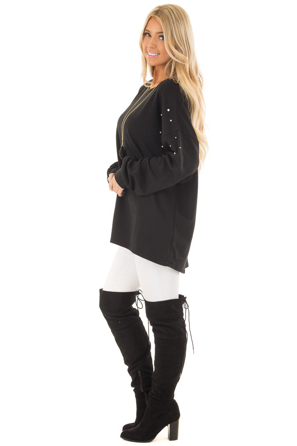 Black Oversized Sweater with Beaded Details side full body