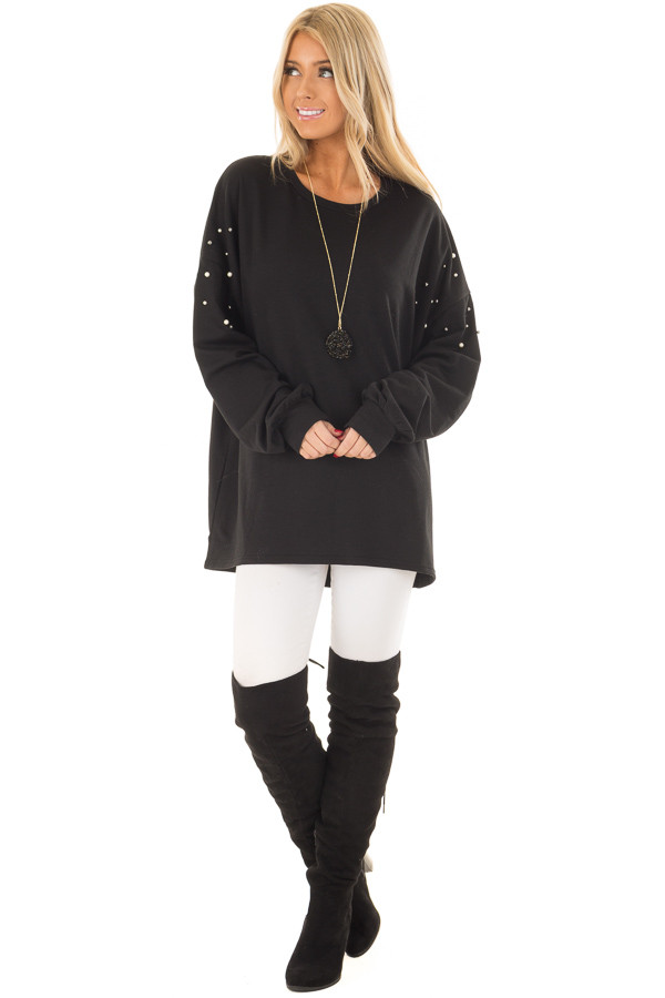 Black Oversized Sweater with Beaded Details front full body