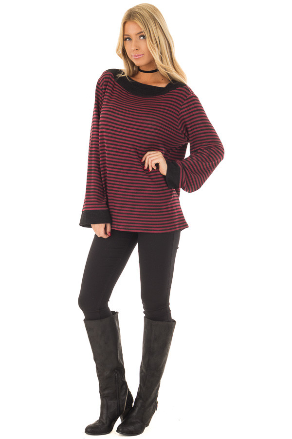 Burgundy Striped Boat Neck Top with Bell Sleeves front full body