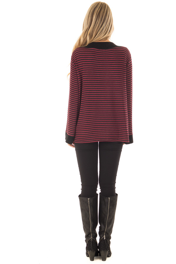 Burgundy Striped Boat Neck Top with Bell Sleeves back full body