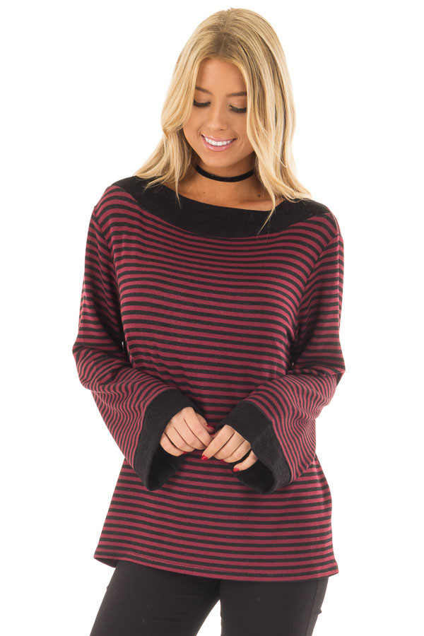 Burgundy Striped Boat Neck Top with Bell Sleeves front close up