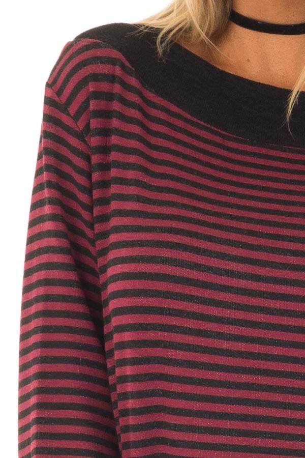 Burgundy Striped Boat Neck Top with Bell Sleeves detail