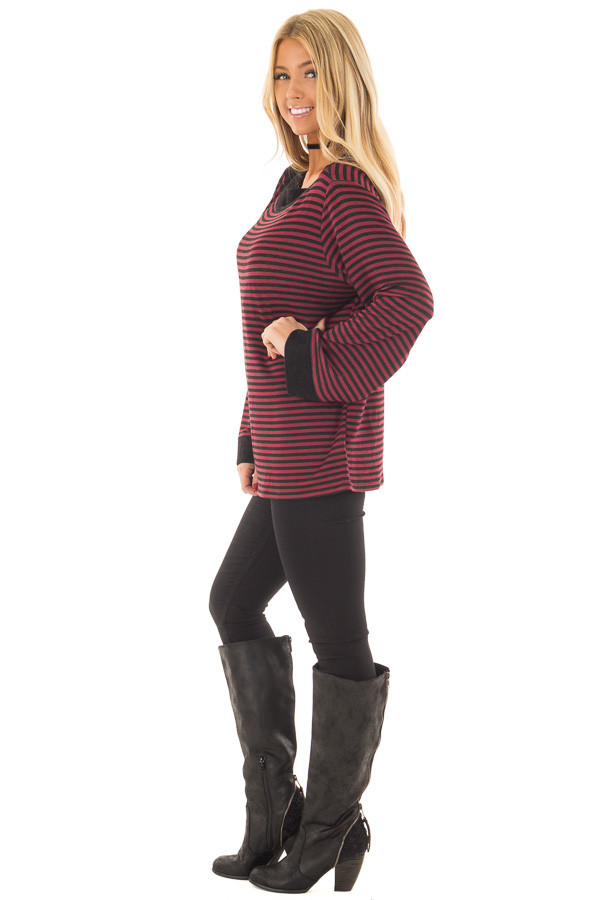 Burgundy Striped Boat Neck Top with Bell Sleeves side full body