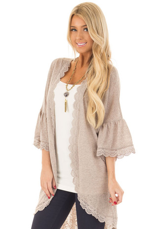 Mocha 3/4 Ruffle Sleeve Cardigan with Sheer Lace Details front close up