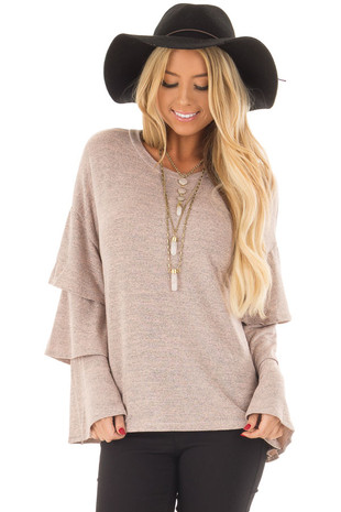 Mauve Two Tone Top with Long Tiered Bell Sleeves front close up