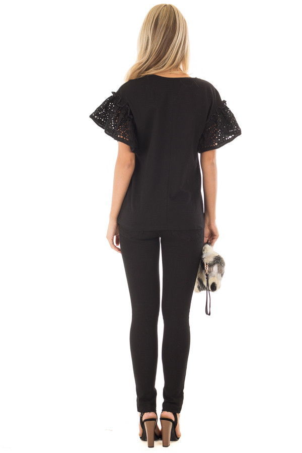 Black Top with Sheer Lace Ruffle Short Sleeves back full body