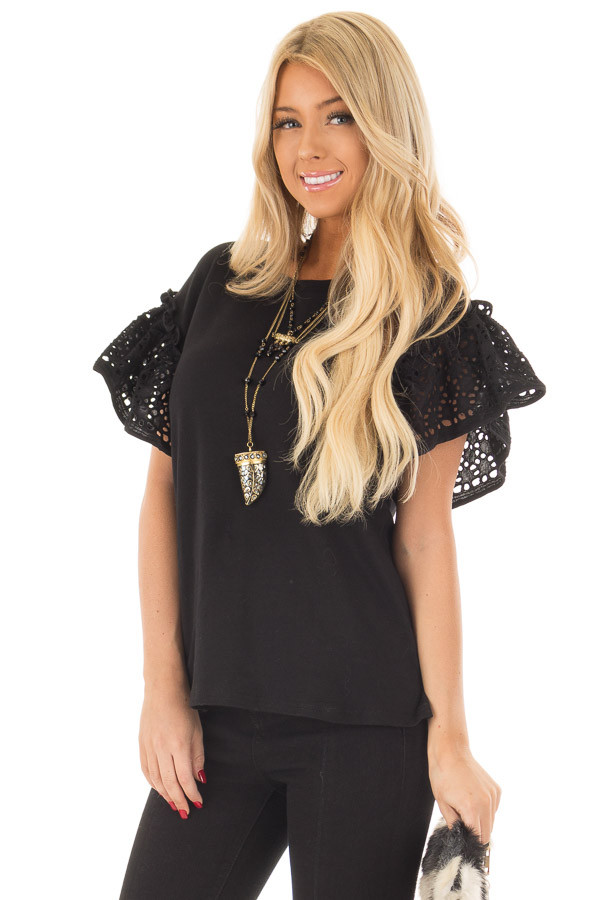Black Top with Sheer Lace Ruffle Short Sleeves front close up