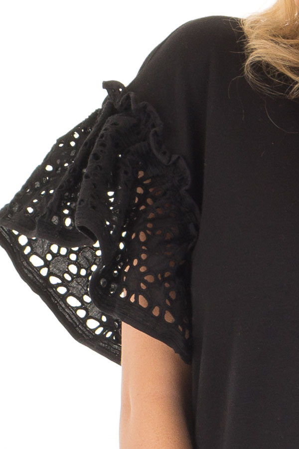 Black Top with Sheer Lace Ruffle Short Sleeves detail