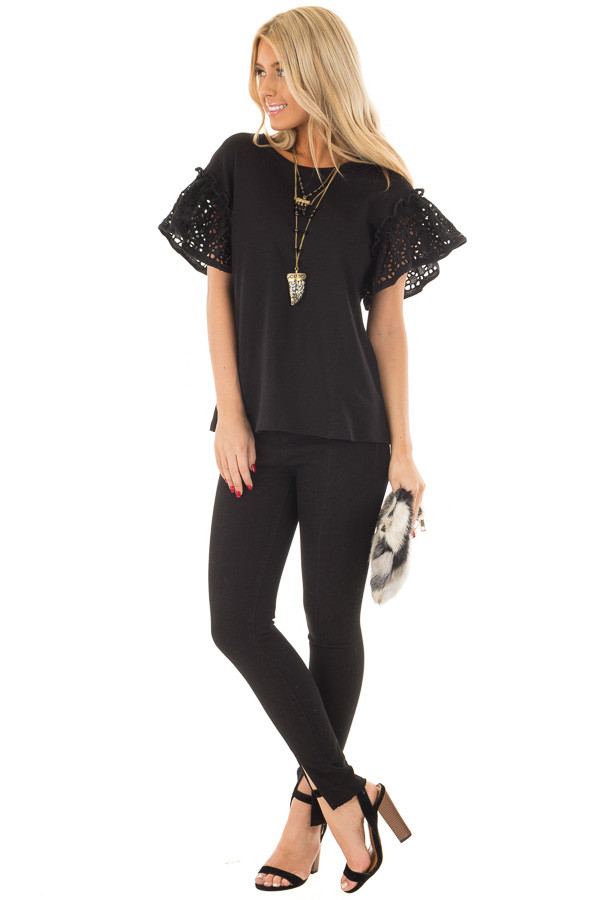 Black Top with Sheer Lace Ruffle Short Sleeves front full body