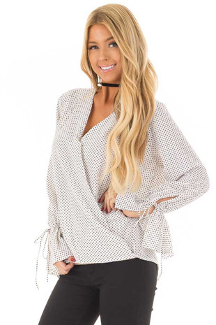 Ivory Wrap Style Top with Polka Dot Detail front close up