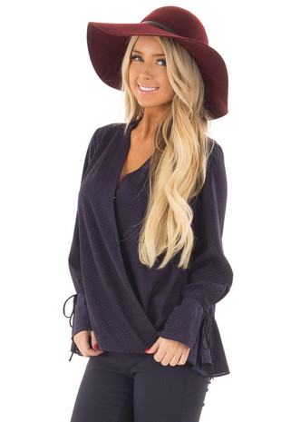 Navy Wrap Style Top with Polka Dot Detail front close up