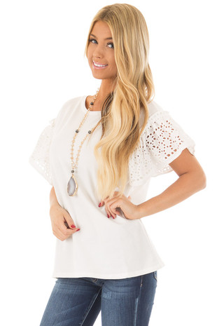 Ivory Top with Sheer Lace Ruffle Short Sleeves front close up
