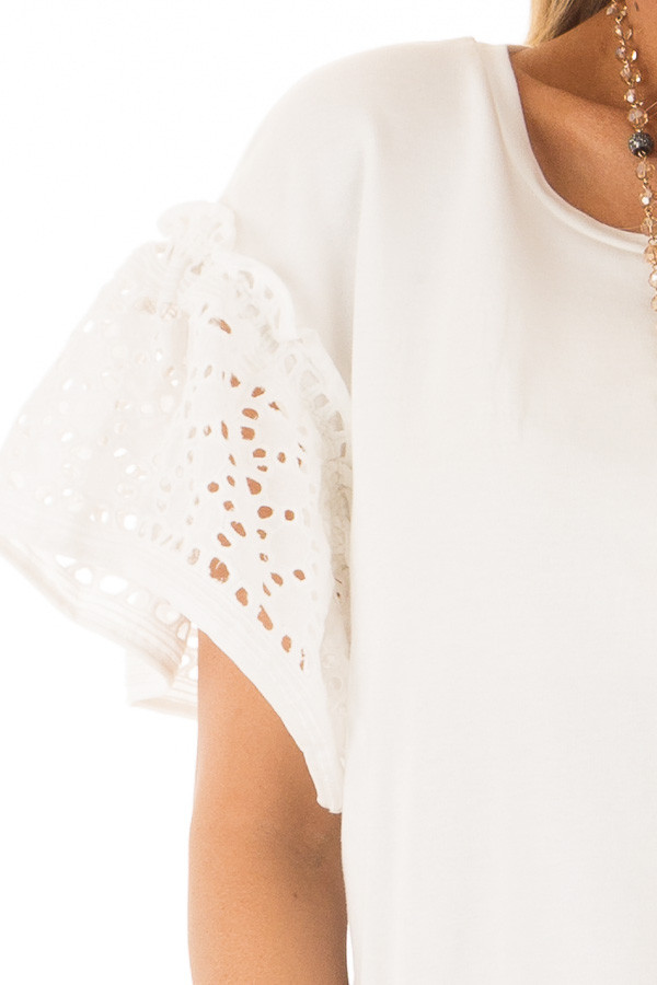 Ivory Top with Sheer Lace Ruffle Short Sleeves detail