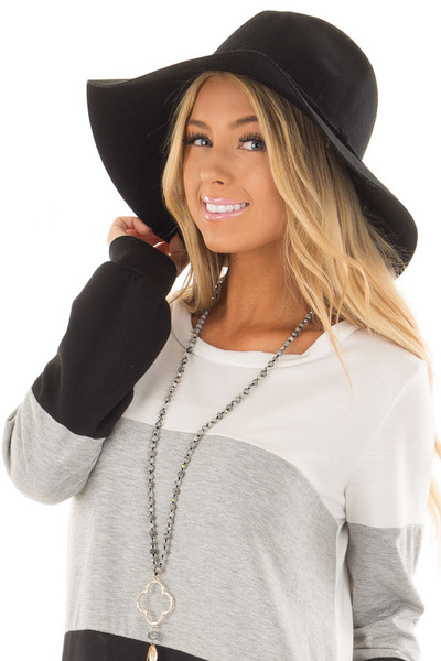 Black Wool Felt Western Hat with Side Tie Detail front view