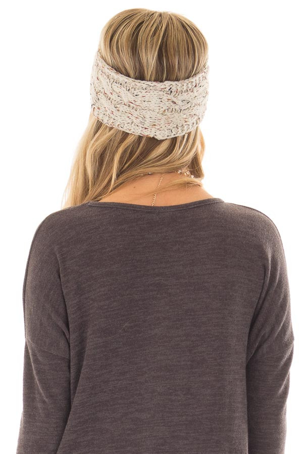 Beige Confetti Cable Knit Sherpa Lined Headband back view