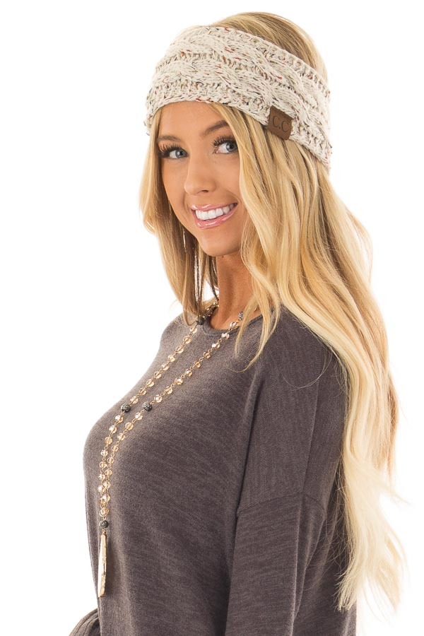 Beige Confetti Cable Knit Sherpa Lined Headband side view