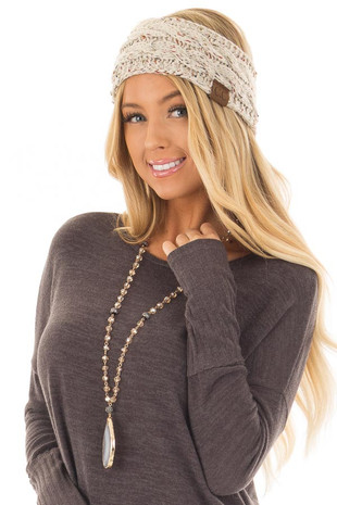 Beige Confetti Cable Knit Sherpa Lined Headband front view