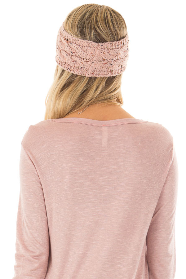 Dusty Pink Confetti Cable Knit Sherpa Lined Headband back view