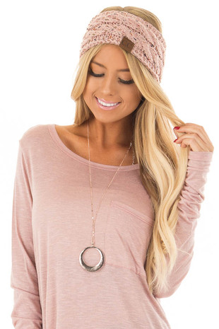 Dusty Pink Confetti Cable Knit Sherpa Lined Headband front view