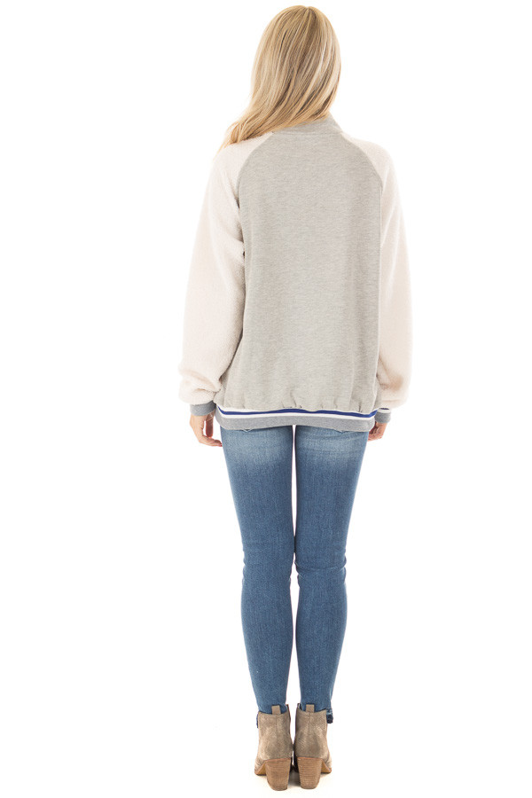 Heather Grey High Neck Lace Up Sweater with Sherpa Sleeves back full body