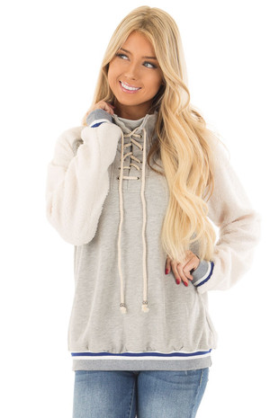 Heather Grey High Neck Lace Up Sweater with Sherpa Sleeves front close up