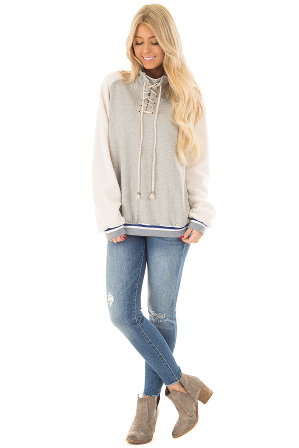 Heather Grey High Neck Lace Up Sweater with Sherpa Sleeves front full body