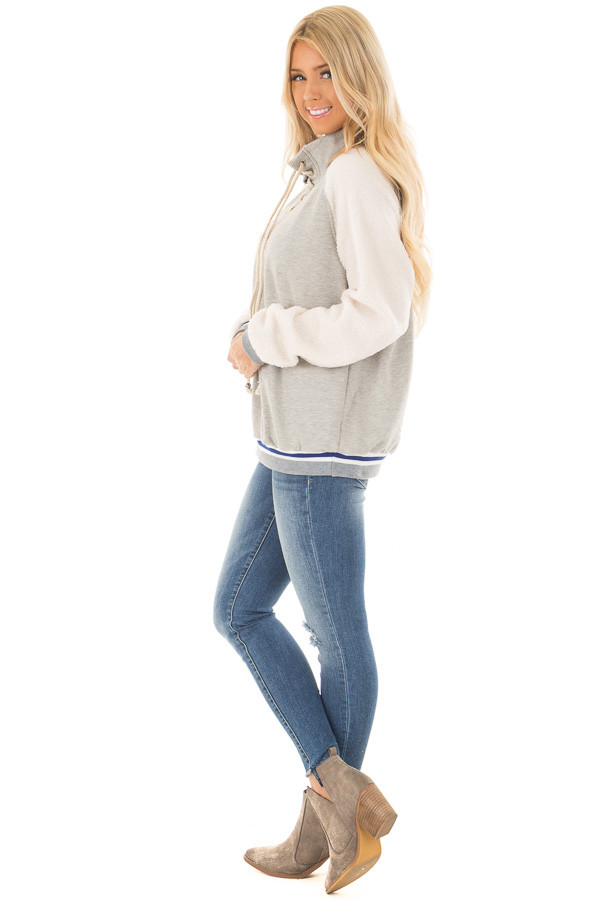 Heather Grey High Neck Lace Up Sweater with Sherpa Sleeves side full body
