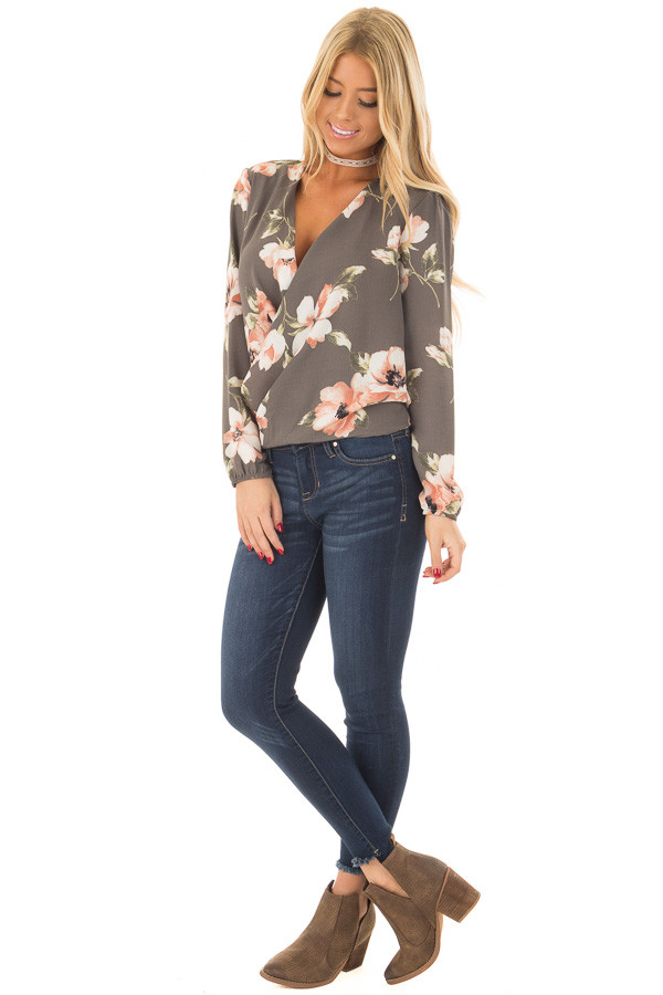 Charcoal Floral Print Wrap Style Top with Back Tie front full body