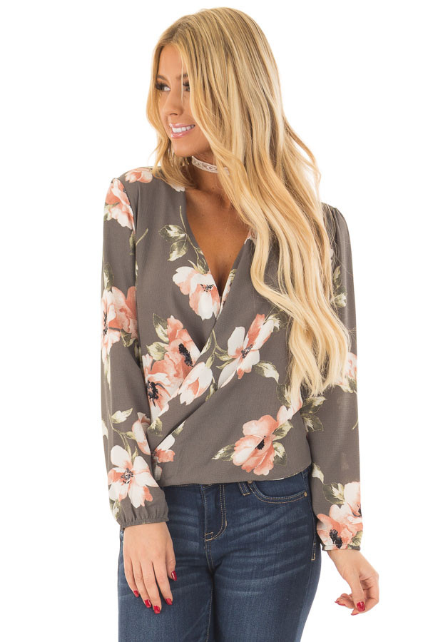Charcoal Floral Print Wrap Style Top with Back Tie front close up