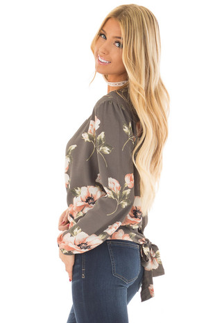 Charcoal Floral Print Wrap Style Top with Back Tie side close up