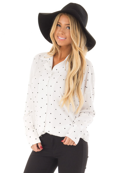 White and Black Polka Dot Button Up Blouse front close up