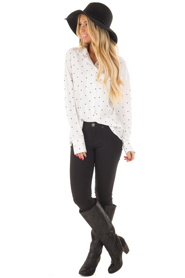 White and Black Polka Dot Button Up Blouse front full body
