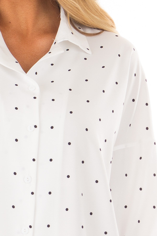 White and Black Polka Dot Button Up Blouse detail