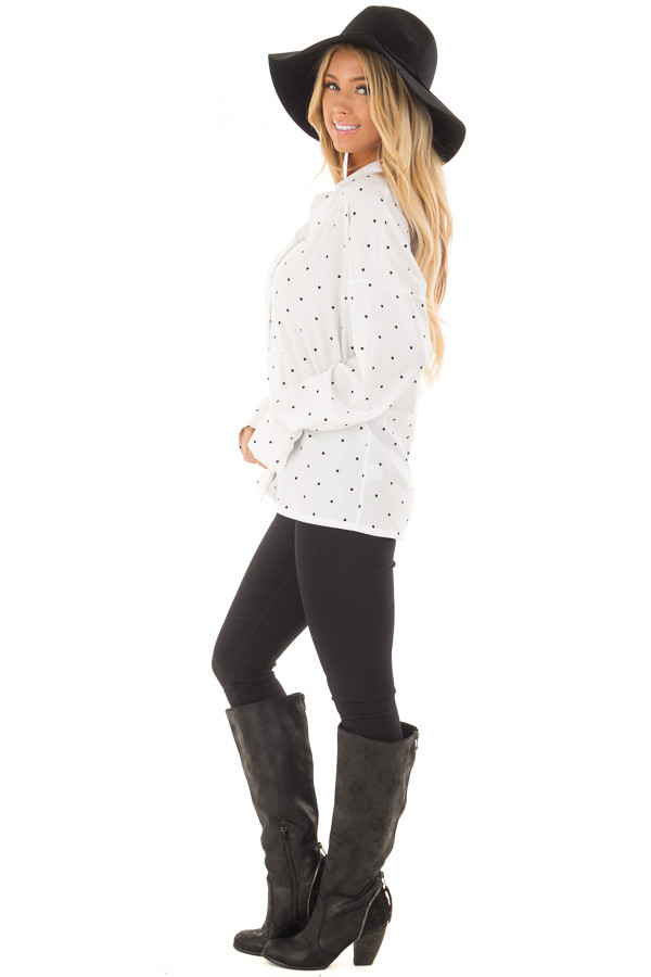 White and Black Polka Dot Button Up Blouse side full body