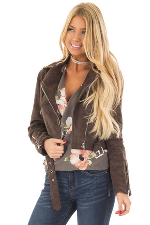 Mocha Faux Suede Motor Jacket front close up