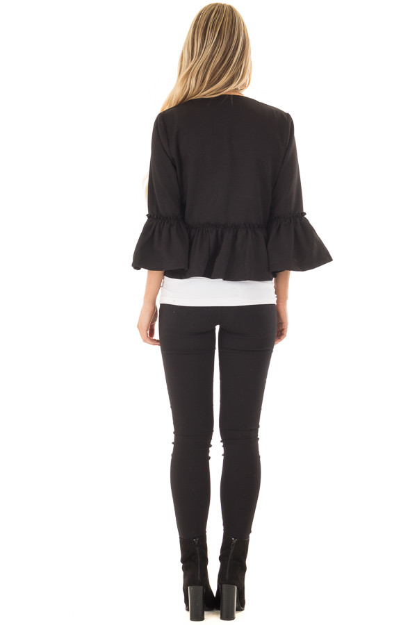 Black Bell Sleeve Jacket with Gathered Waistline back full body