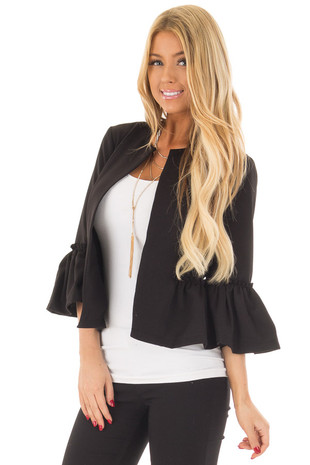 Black Bell Sleeve Jacket with Gathered Waistline front close up