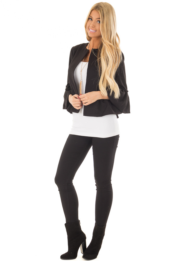 Black Bell Sleeve Jacket with Gathered Waistline front full body