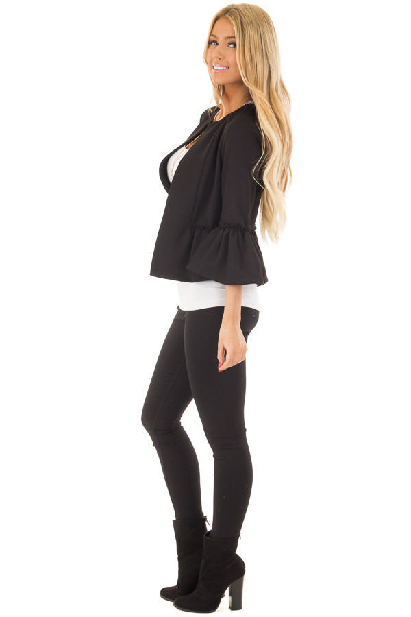Black Bell Sleeve Jacket with Gathered Waistline side full body