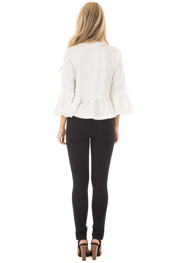 Off White Bell Sleeve Jacket with Gathered Waistline back full body