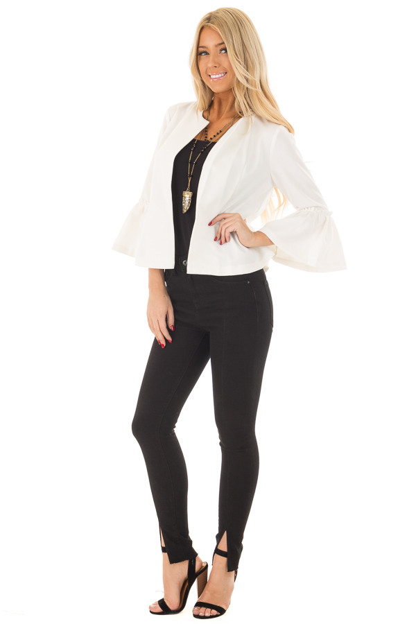 Off White Bell Sleeve Jacket with Gathered Waistline front full body